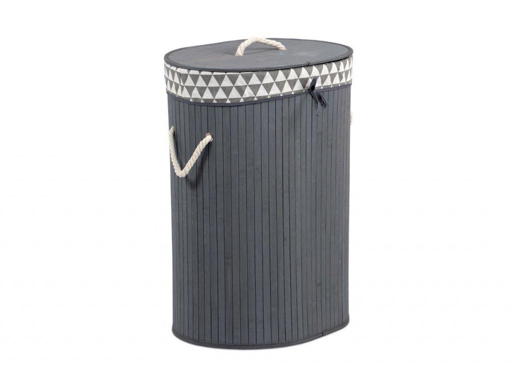 Koš prádelní z bambusu, ovál, barva šedá, v papírové krabičce KD4428