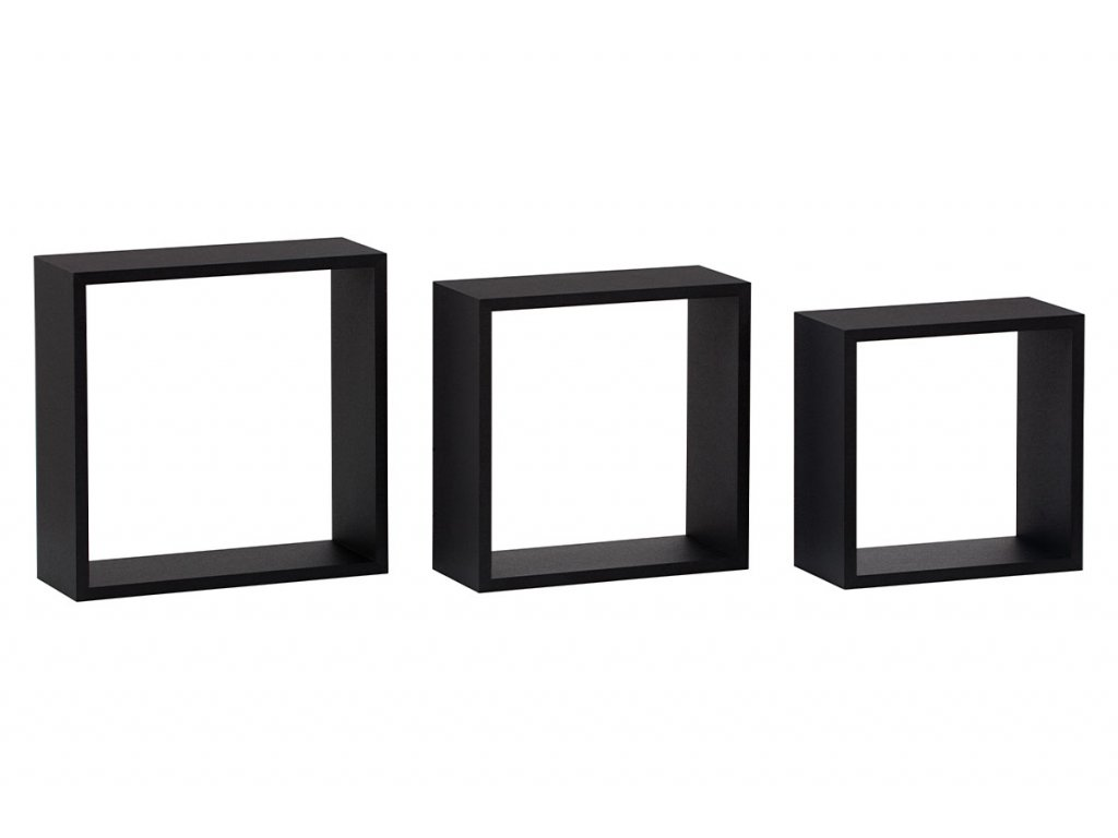 Nástěnná polička, sada 3 ks, barva černá matná P-008 BK
