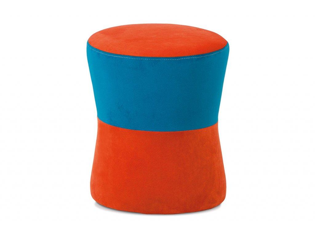 Taburet oranžová / modrá TAB-102 ORA2