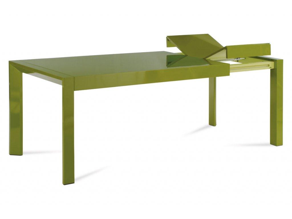 Jídelní stůl rozkl., 160+50x90 cm, vysoký lesk zelený WD-5829 GRN