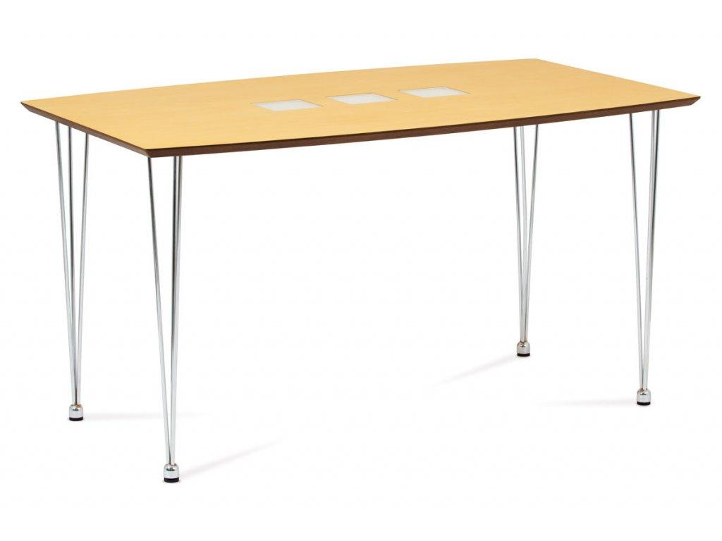 Jídelní stůl 135x80 cm, chrom / dýha natural  WD-5909 NAT
