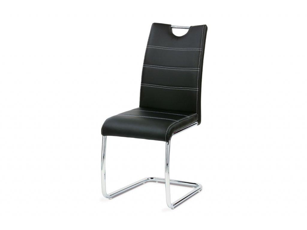 Jídelní židle, chrom/koženka černá s bílým prošitím WE-5076 BK