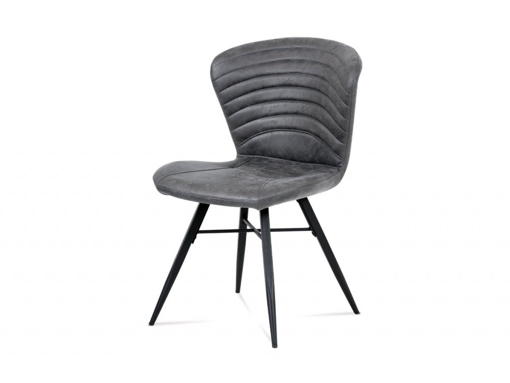 Jídelní židle, šedá látka vintage, kov černý mat HC-442 GREY3
