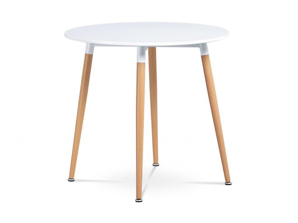 Jídelní stůl pr.80 cm, bílá matná MDF, kov buk + chrom DT-608 WT