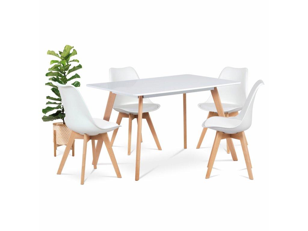 Jídelní židle, plast bílý / koženka bílá / masiv buk CT-752 WT