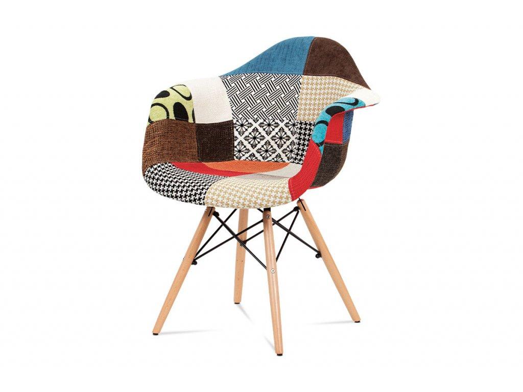 Jídelní židle, patchwork / masiv buk CT-755 PW2
