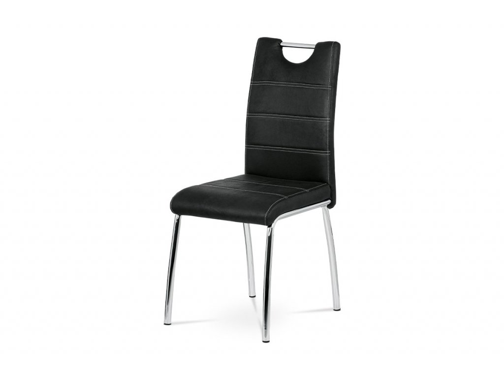 Jídelní židle, imitace broušené kůže černá AC-9930 BK3