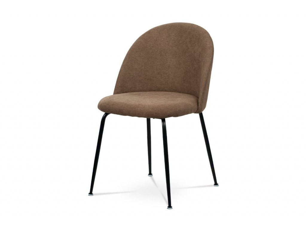 Čalouněná designová židle s dekorativním prošitím zad, hnědá CT-017 BR2