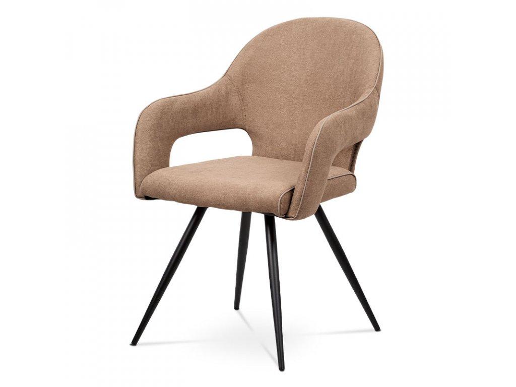 Čalouněná jídelní židle s područkami, cappuccino HC-031 CAP2