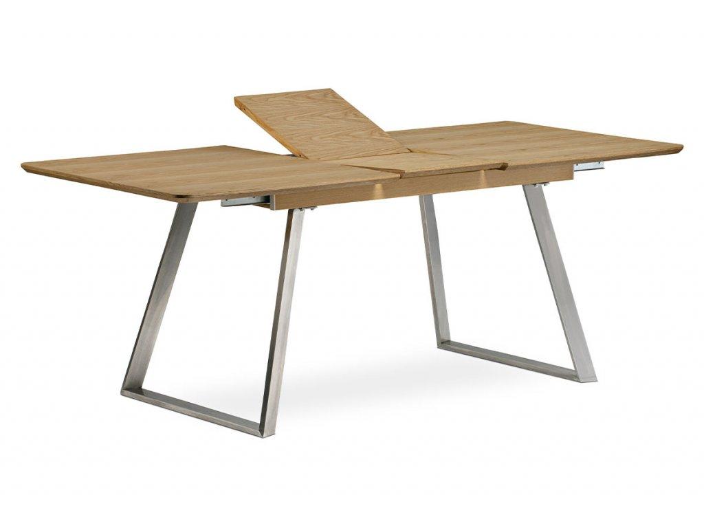 Rozkládací jídelní stůl s nerezovou podnoží, dub HT-806 OAK
