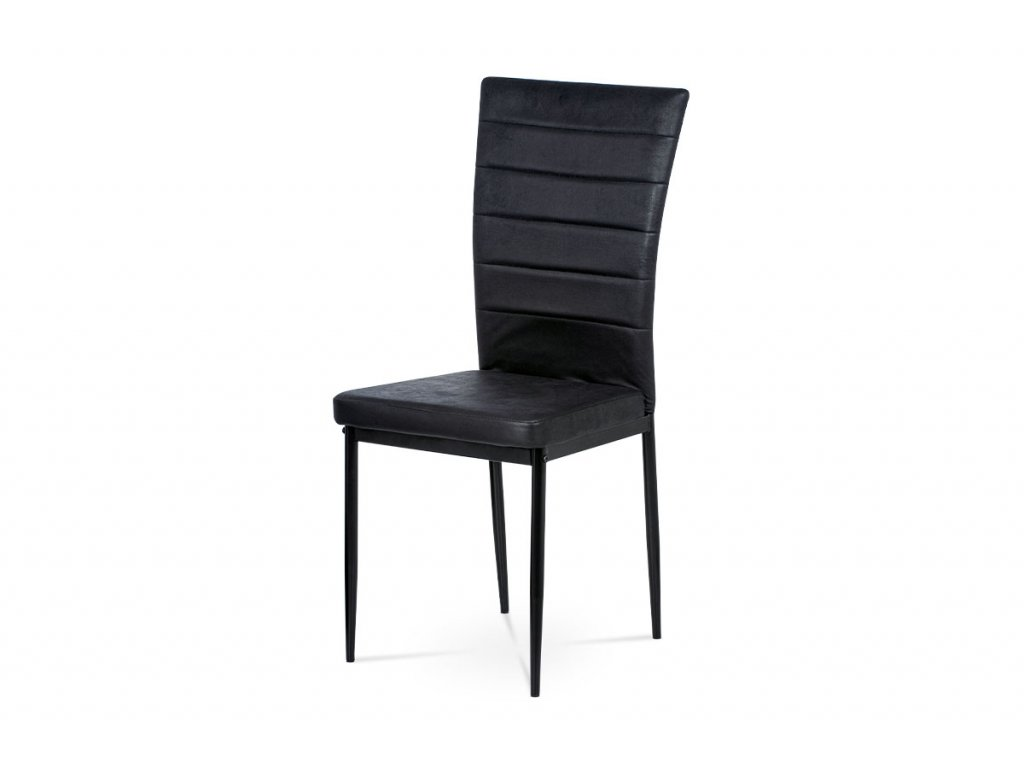 Jídelní židle, černá látka imitace broušené kůže, kov černý mat AC-9910 BK3
