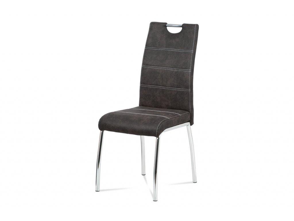 jídelní židle, látka šedá, bílé prošití / chrom HC-486 GREY3