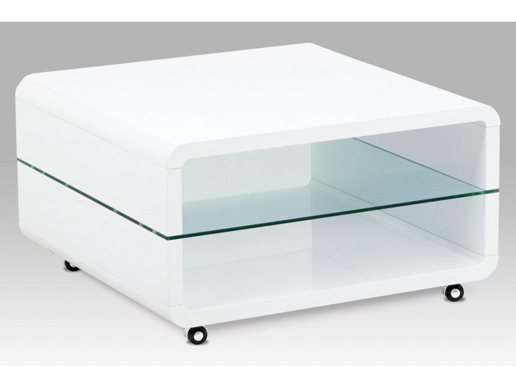 Konferenční stolek, bílý vysoký lesk, čiré sklo, 4 kolečka AHG-615 WT