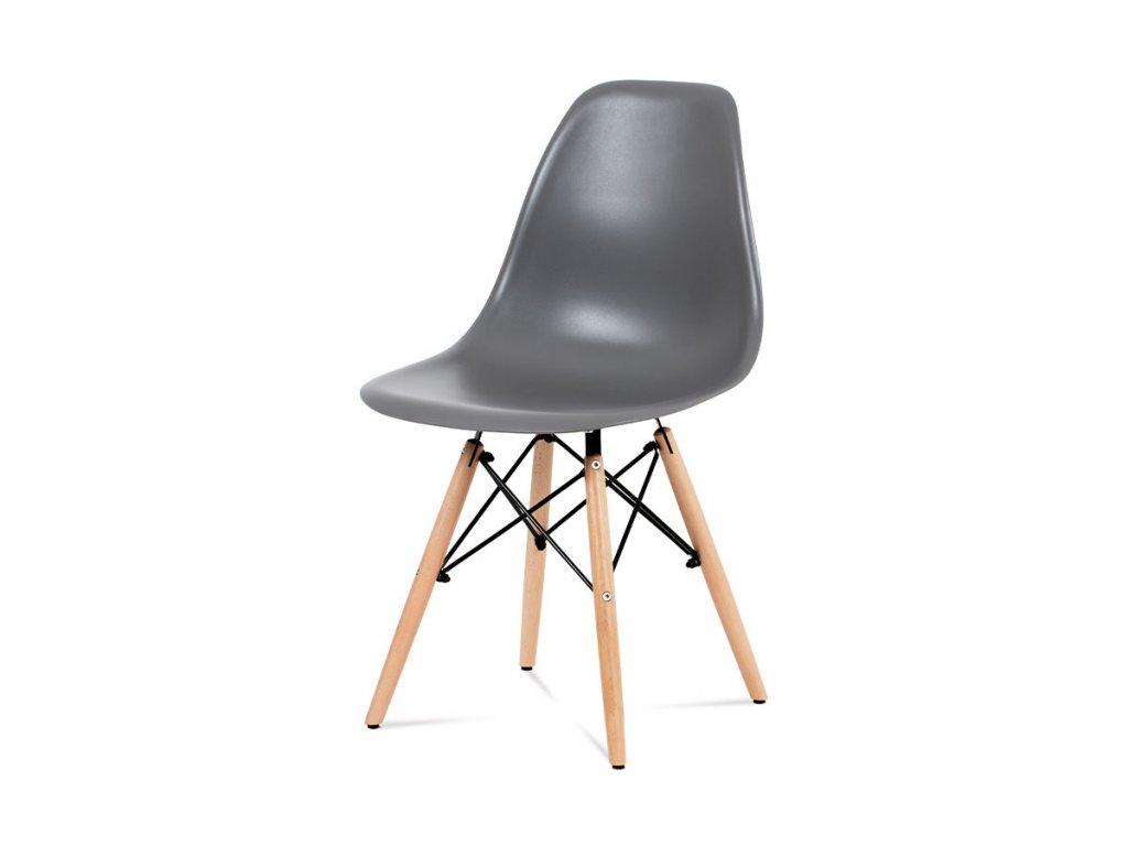 Jídelní židle, plast šedý / masiv buk / kov černý CT-758 GREY