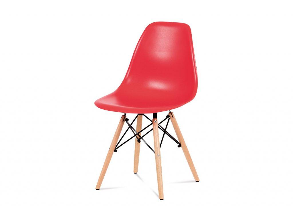 Jídelní židle, plast červený / masiv buk / kov černý CT-758 RED