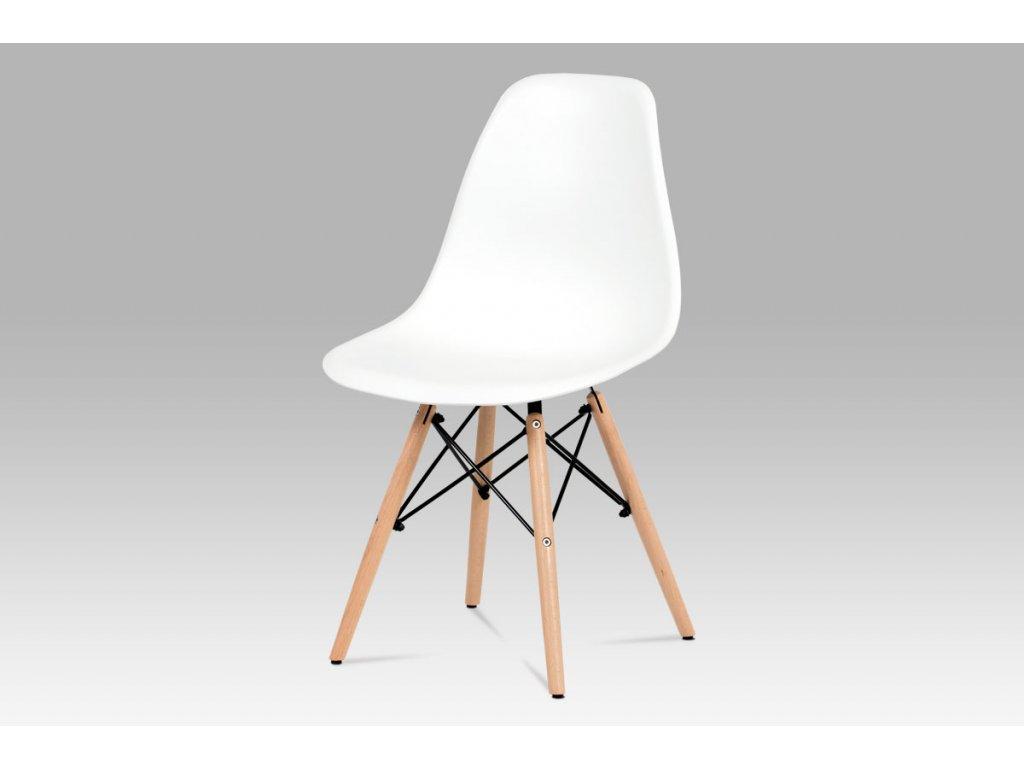 Jídelní židle, plast bílý / masiv buk / kov černý CT-758 WT