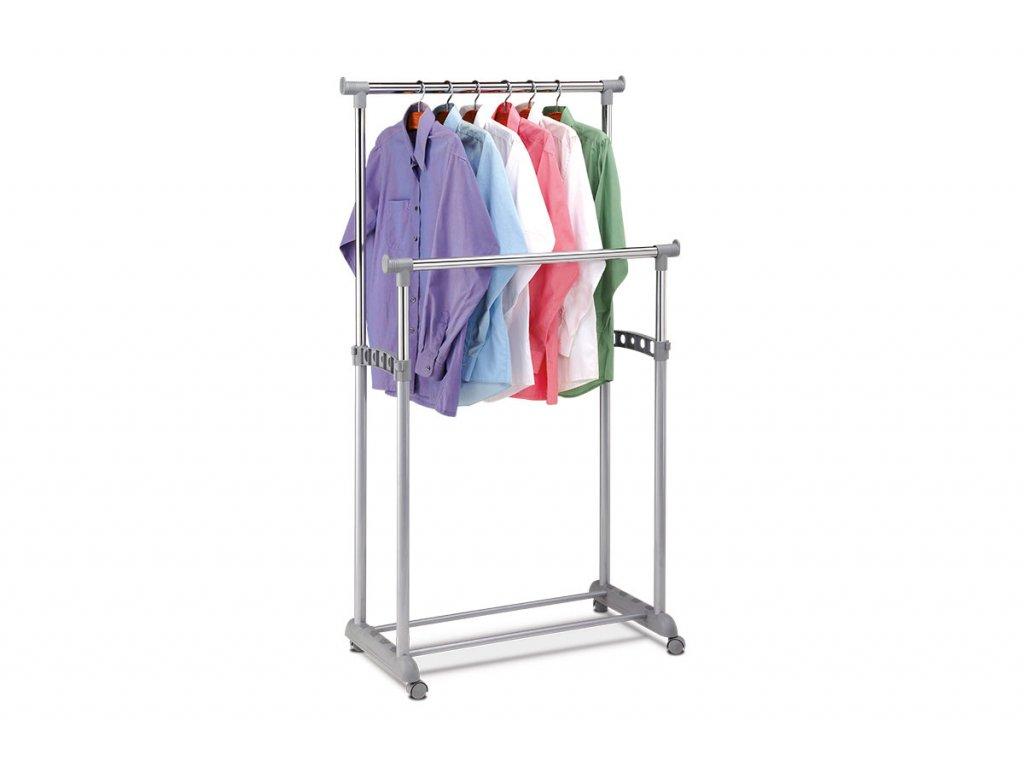 Stojan na šaty, šedá barva, kov / plast, chrom ABD-1233 GREY