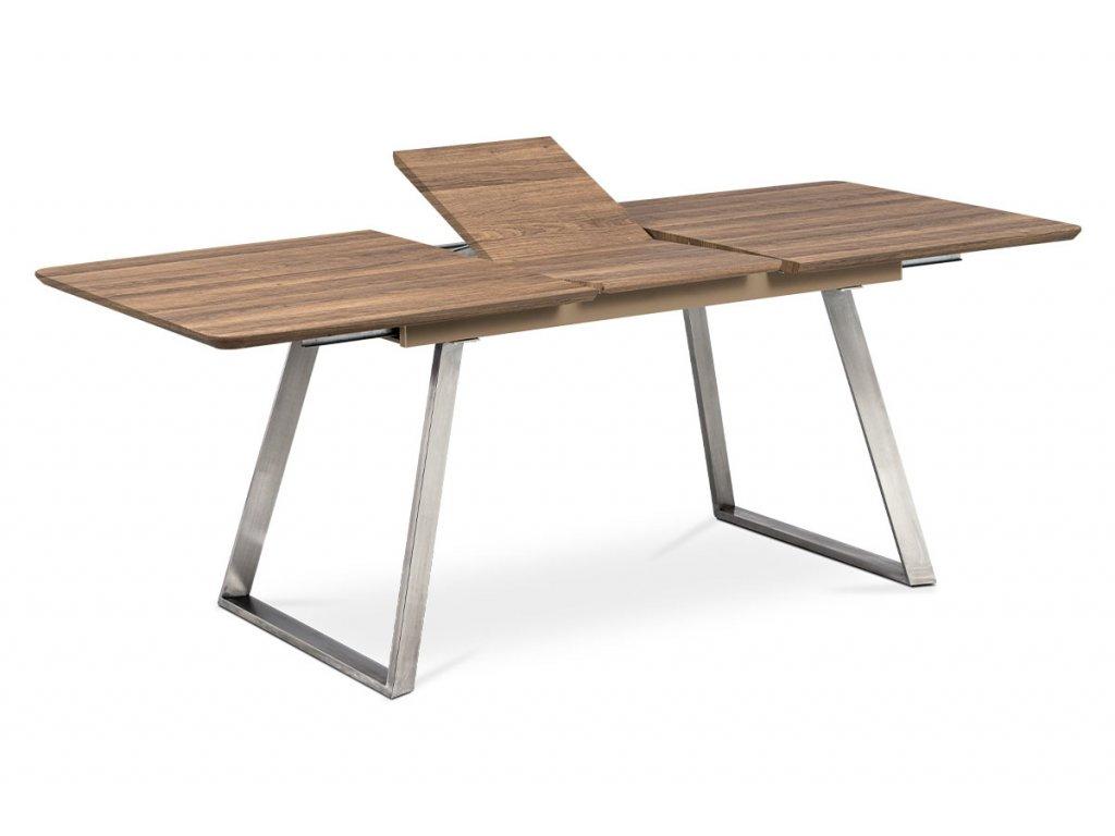 Jídelní stůl 160x90cm s rozkladem 40cm, MDF v dekoru tmavý dub, broušený nerez HT-804 OAK3