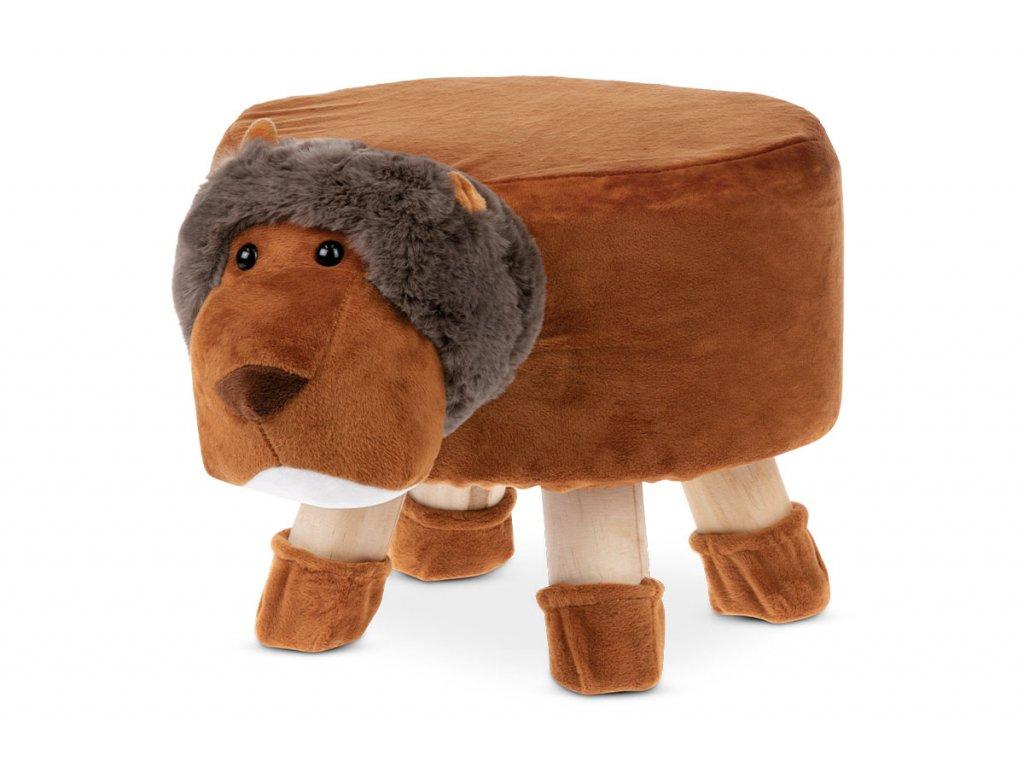 Taburet - lev, terracottová látka, dřevěné nohy LA2003