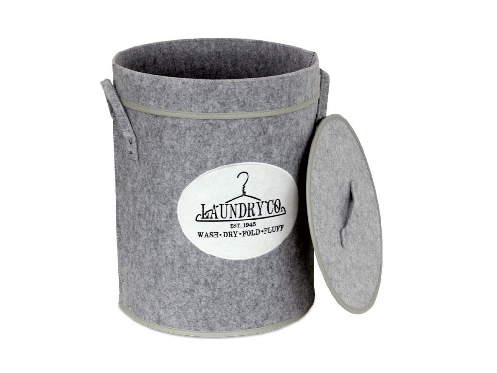 Koš prádelní z plsti s víkem,  barva světle šedá, v papírové krabičce KD4415