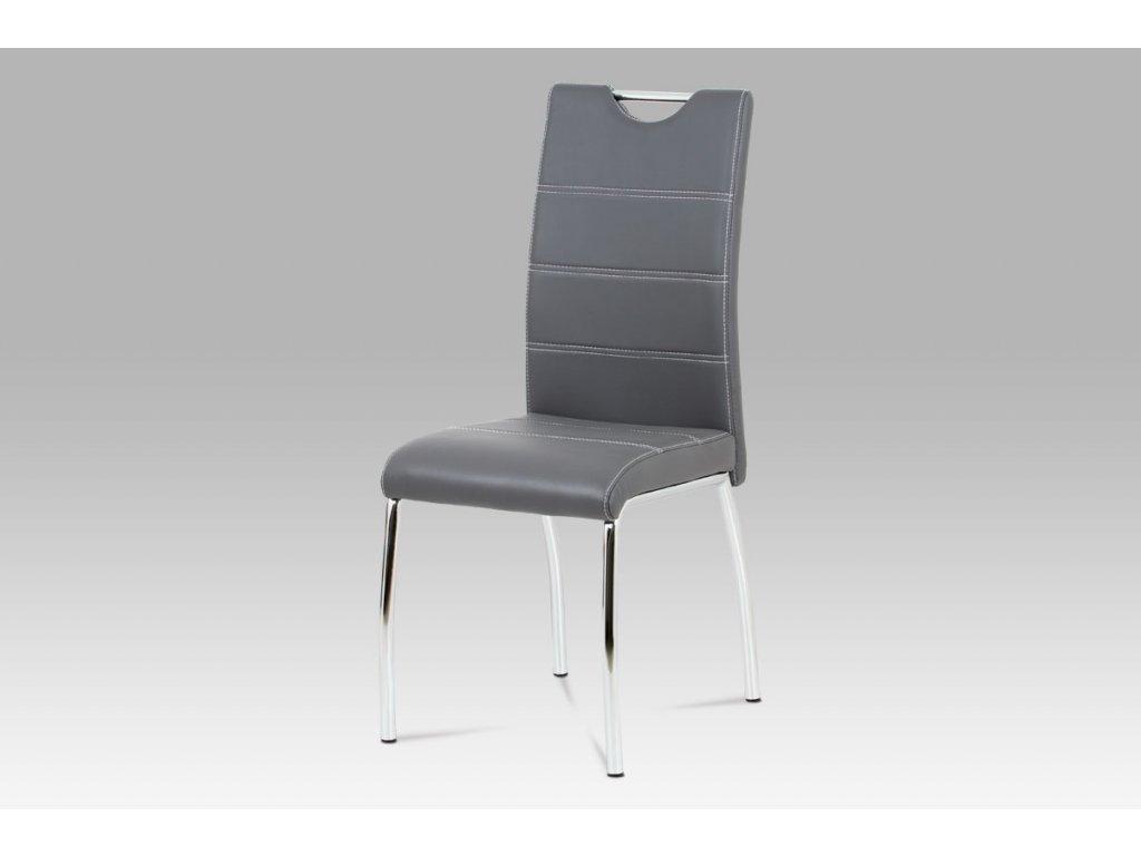 Jídelní židle šedá koženka / chrom HC-585 GREY