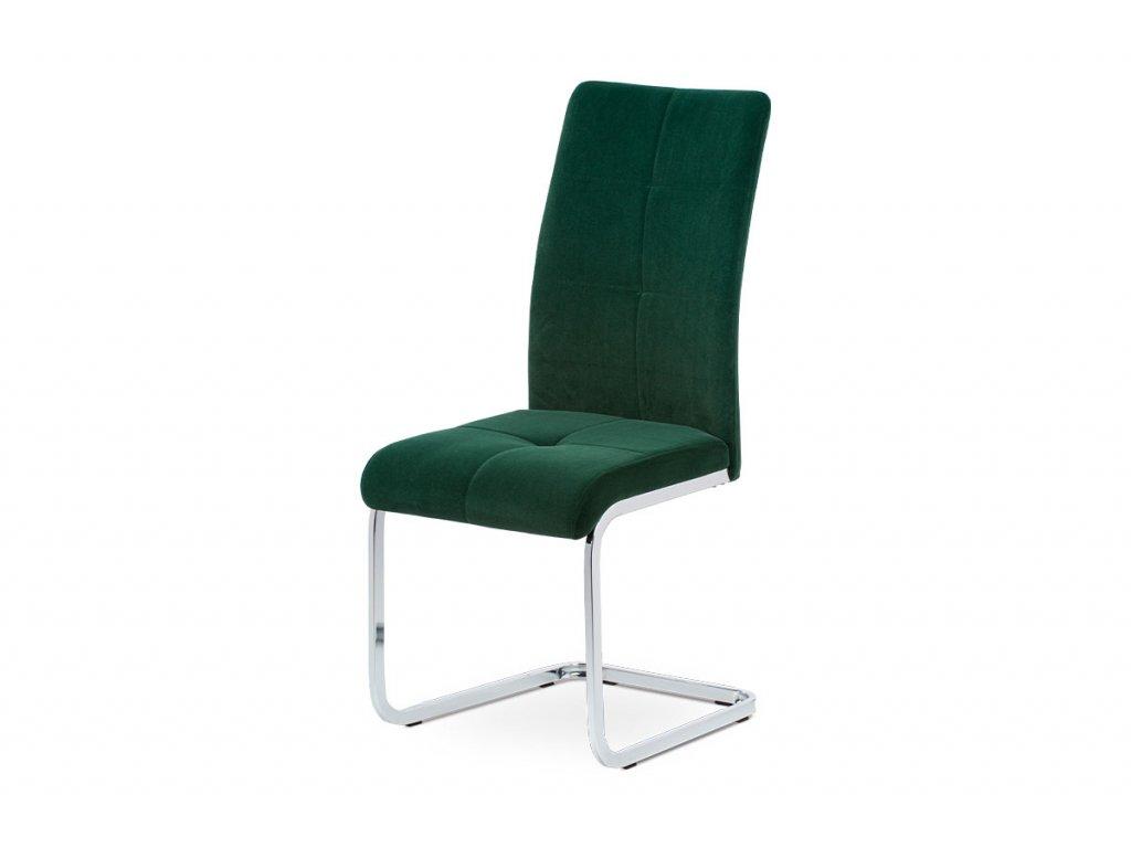Jídelní židle, zelená sametová látka, kovová pohupová chromovaná podnož DCL-440 GRN4