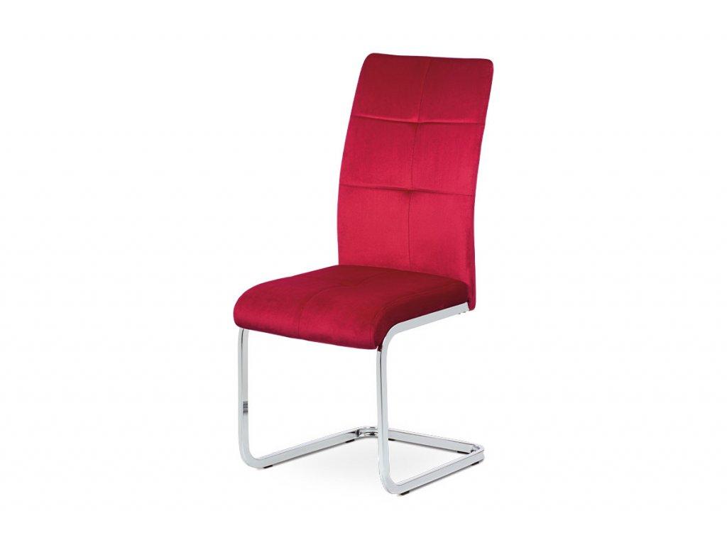 Jídelní židle, červená sametová látka, kovová pohupová chromovaná podnož DCL-440 RED4