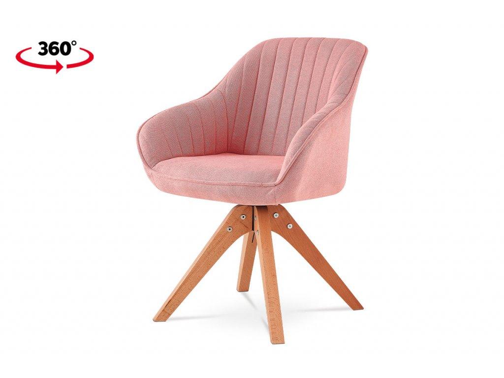 Jídelní židle, látka růžová, nohy masiv buk HC-770 PINK2