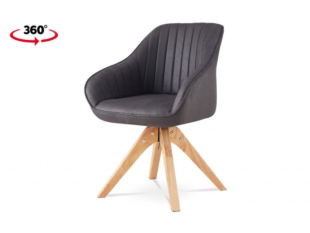 Jídelní židle, šedá látka v dekoru broušené kůže, nohy masiv kaučukovník HC-772 GREY3