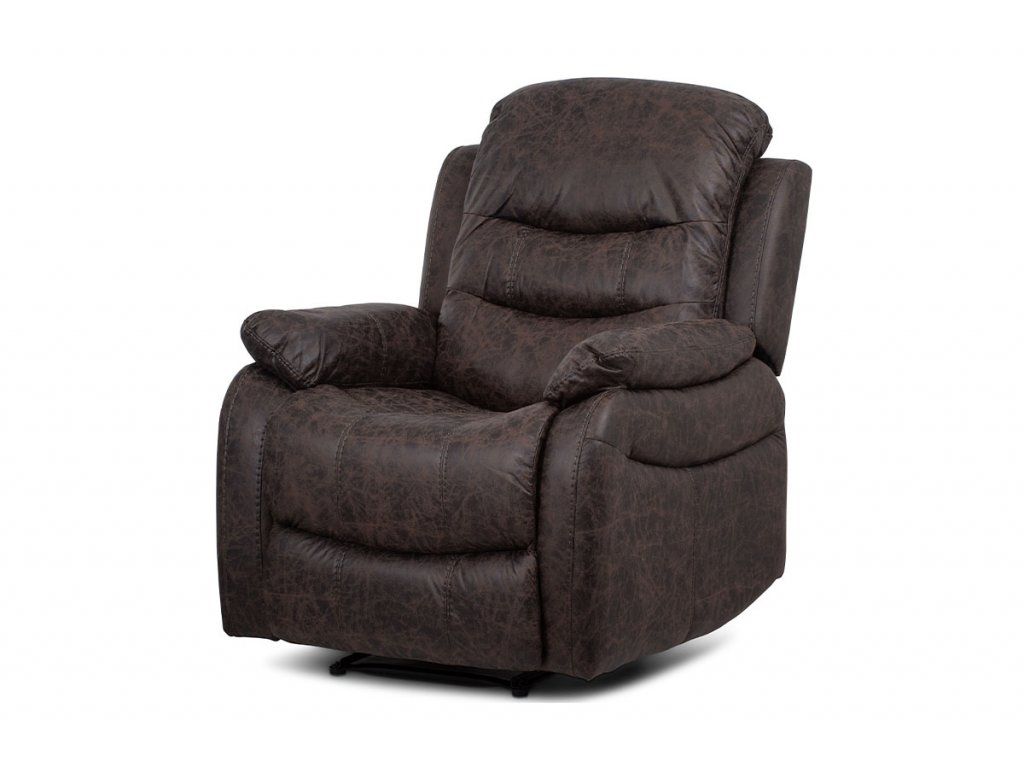 TV a relaxační křeslo, manuální polohování, potah hnědá látka v dekoru kůže TV-4086 BR