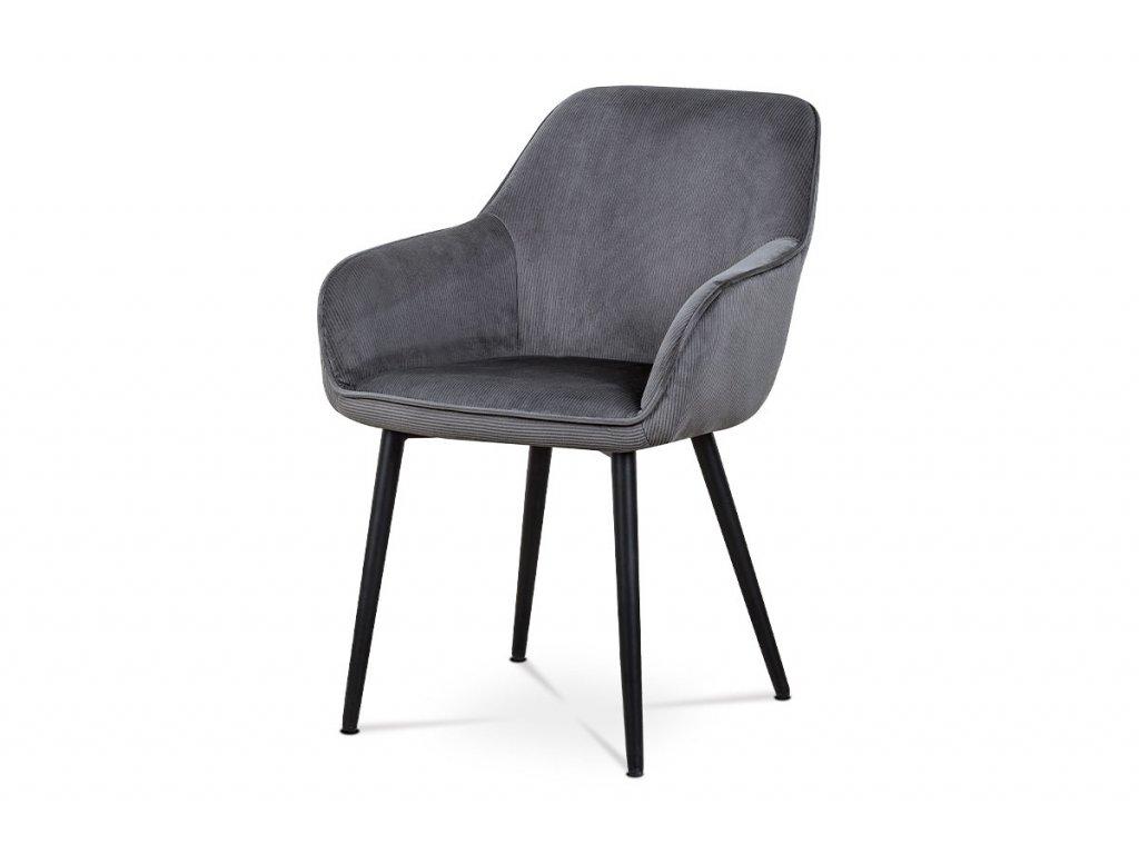 Jídelní a konferenční židle, potah šedá manšestrová látka, kovové nohy - černý lak