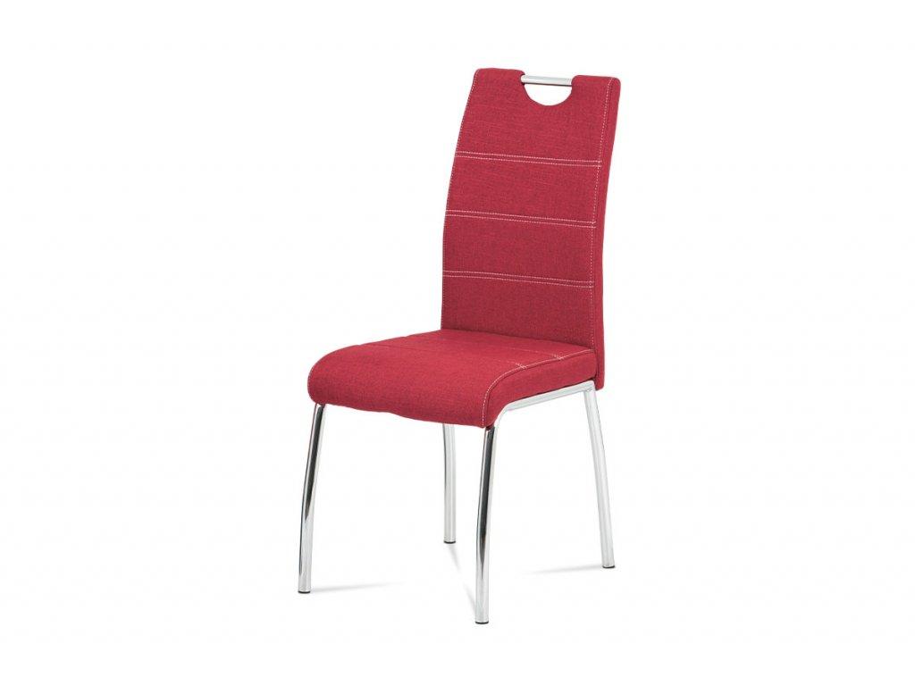 Čalouněná jídelní židle, červená, kovové nohy HC-485 RED2