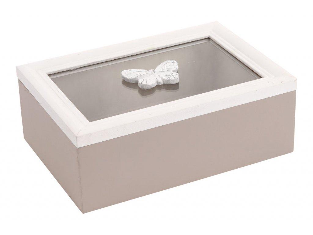 Krabička se sklem dřevěná ARD084 W