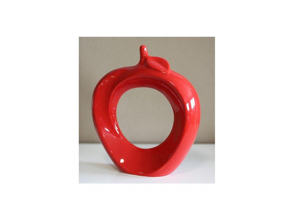 Keramické dekorační jablko, červená barva HL747145