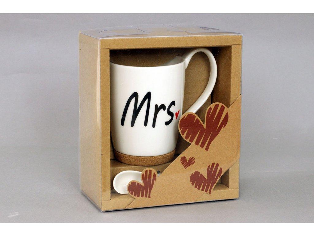 Hrnek porcelánový s korkem a porcelánovou lžičkou v ozdobné krabičce,  obsah 330 ml LG3004