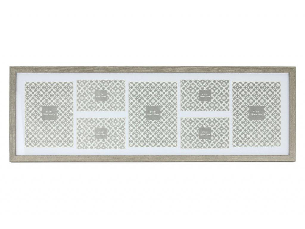 Fotorámeček plastový na 7 fotografii,  4x foto velikost 10x15 cm a 3x foto velikost 15x20 cm NB-3590
