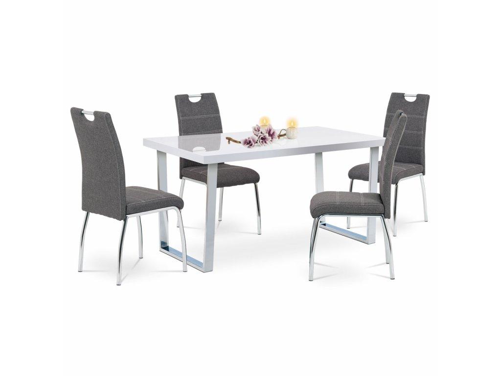 Jídelní židle, potah šedá látka, bílé prošití, kovová čtyřnohá chromovaná podnož