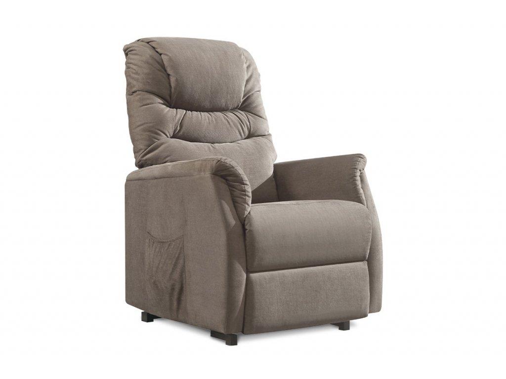 TV a relaxační křeslo s elektrickým ovládáním, potah cappuccino látka, 2 motory