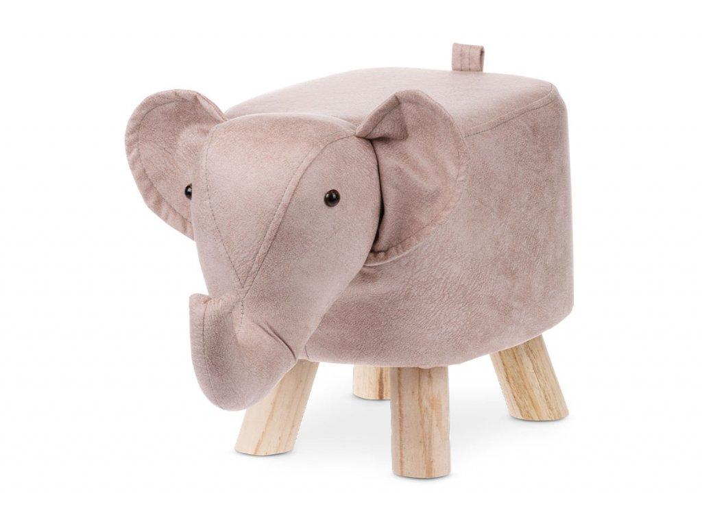 Taburet slon, starorůžová látka, masivní nohy LA2010