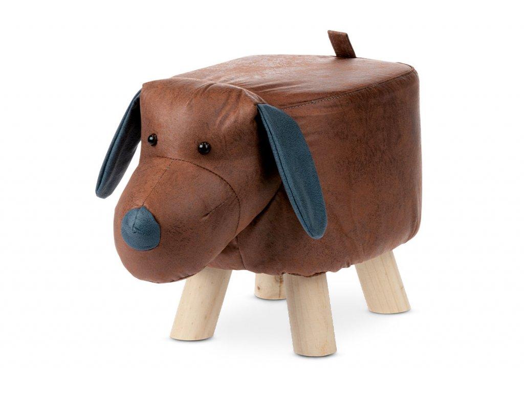 Taburet pes, hnědá látka, masivní nohy LA2011