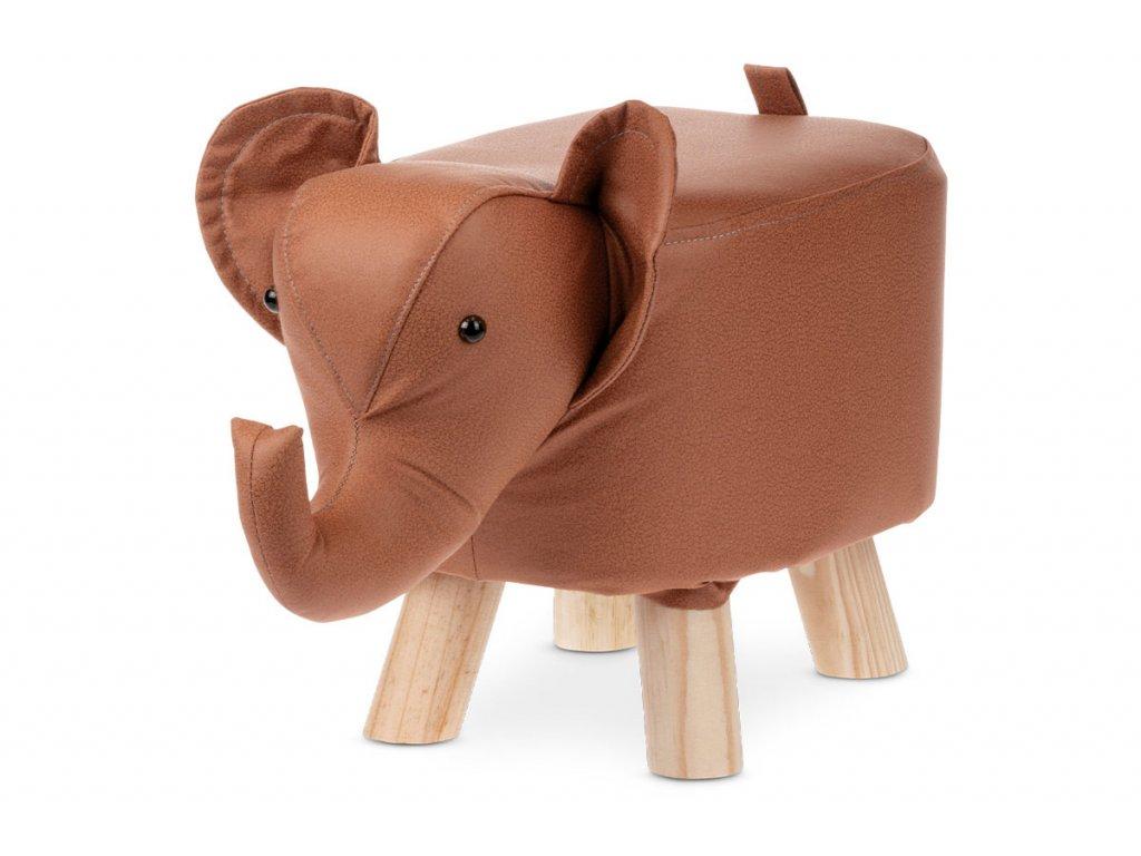 Taburet slon, skořicová hnědá látka, masivní nohy LA2012