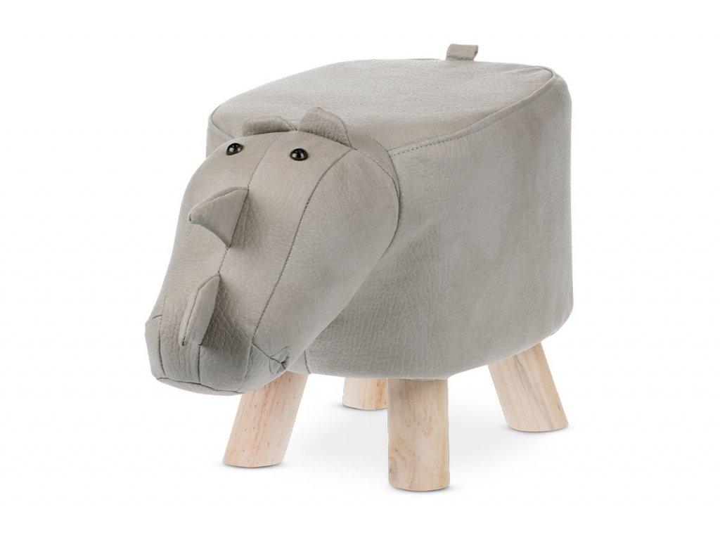 Taburet nosorožec, světle šedá látka, masivní nohy LA2015
