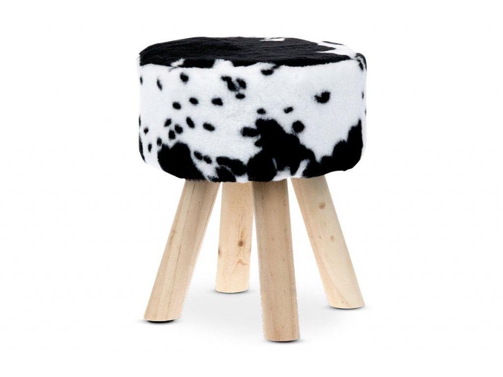 Taburet, černobílá umělá kožešina, masivní nohy LA2016