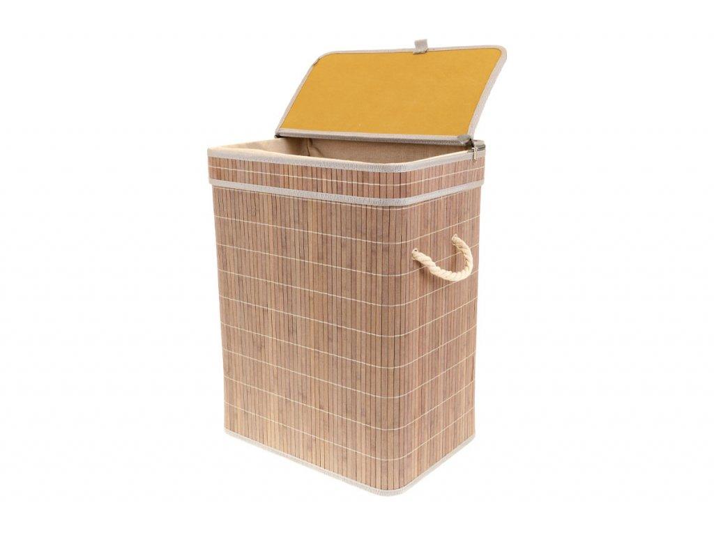 Koš prádelní z bambusu, obdélník, barva šedobílá, v papírové krabičce KD4425