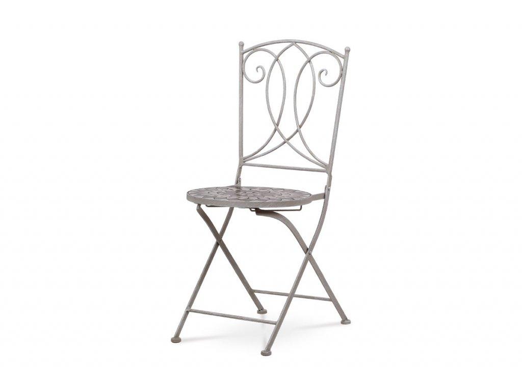 Zahradní židle, keramická mozaika, kov, šedý lak JF2229
