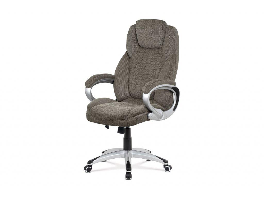 Kancelářská židle, tmavě šedá látka, kříž plastový stříbrný