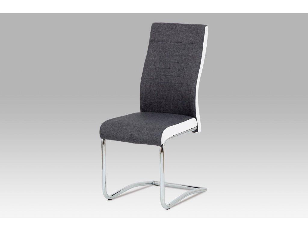 Jídelní židle šedá látka + bílá koženka / chrom DCL-428 GRWT2