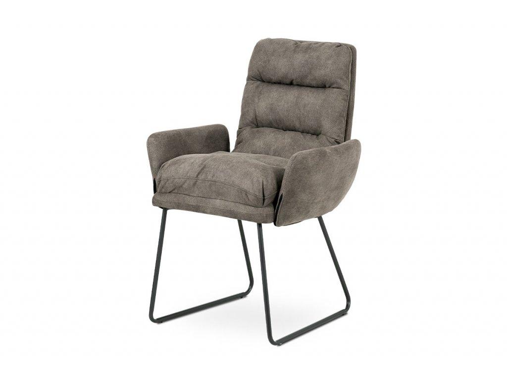 Jídelní židle, hnědá látka, kov šedá mat DCH-256 BR3