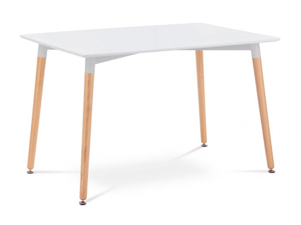 Jídelní stůl 120x80x76 cm, MDF / kovová kostrukce - bílý matný lak, dřevěné nohy