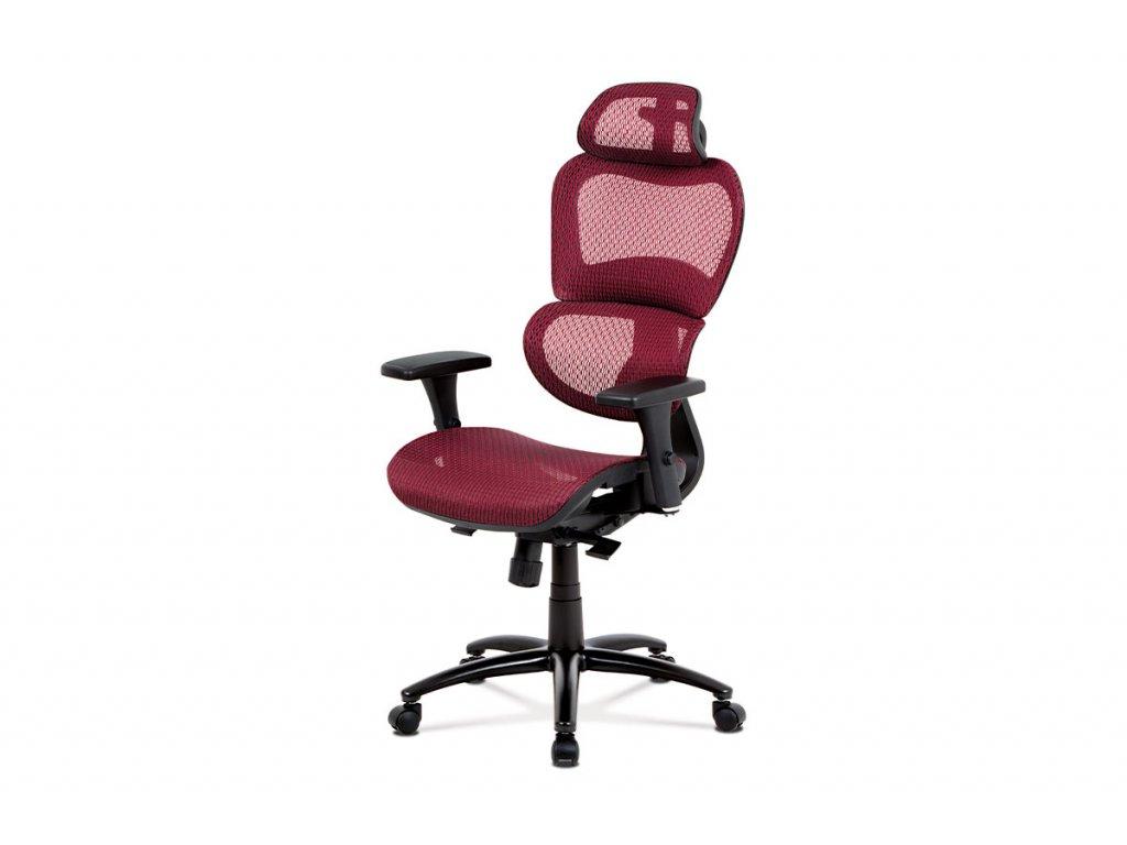Kancelářská židle, synchronní mech., červená MESH, kovový kříž